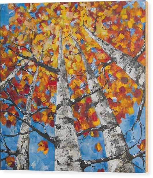 Flaming Aspens Wood Print