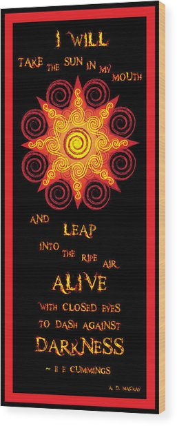 Flaming Celtic Sun Wood Print