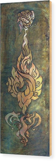 Flaming Dragon Rose Panel Wood Print