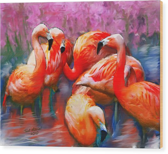 Flaming Flamingos Wood Print