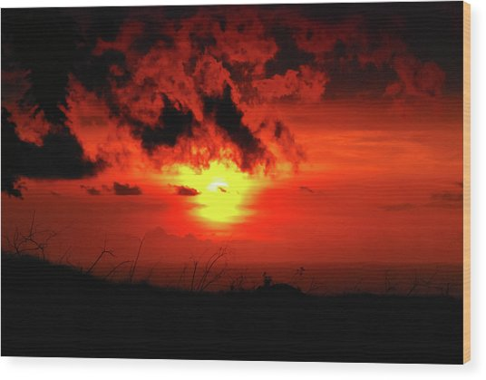 Flaming Sunset Wood Print