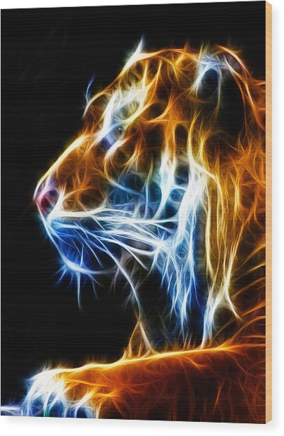Flaming Tiger Wood Print