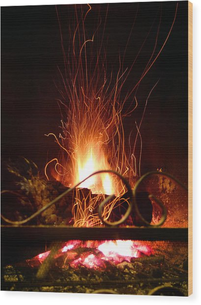 Flaming Wizard Wood Print