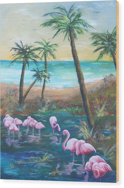 Flamingo Beach Wood Print