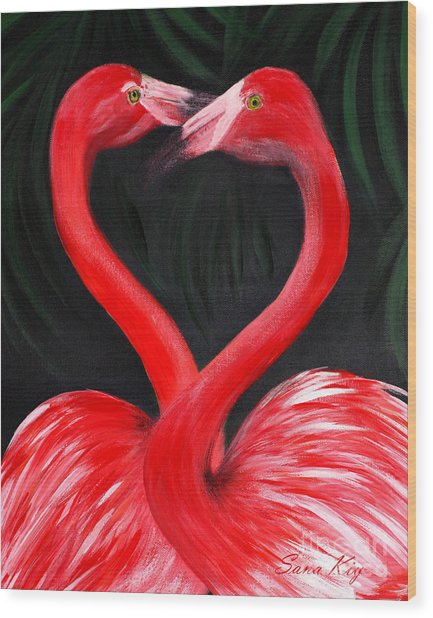 Love  Is... Flamingo Love. Inspirations Collection Wood Print