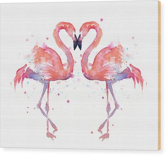 Flamingo Love Watercolor Wood Print