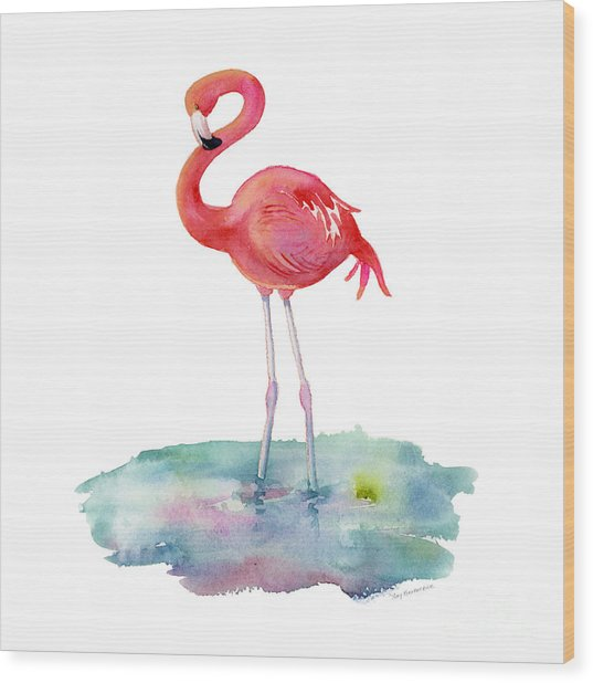 Flamingo Pose Wood Print