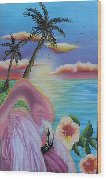 Flamingo Sunset Wood Print