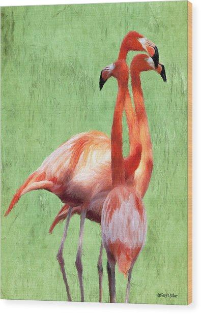 Flamingo Twist Wood Print