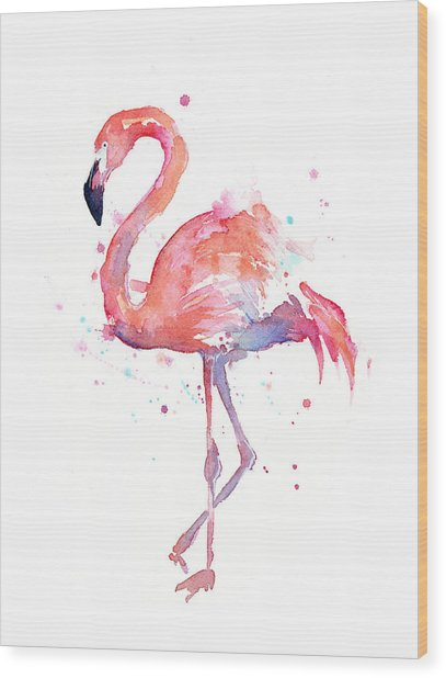 Flamingo Watercolor Wood Print
