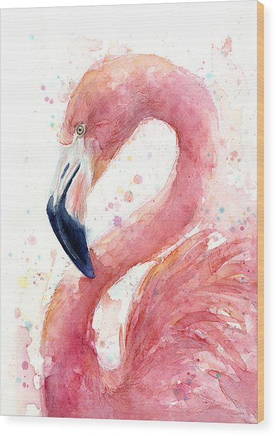 Flamingo Watercolor Painting Wood Print