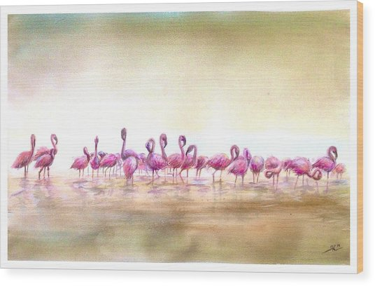 Flamingoes Land Wood Print