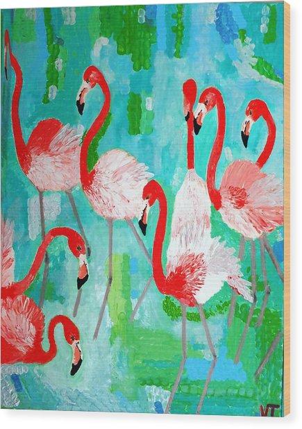 Flamingos 2 Wood Print