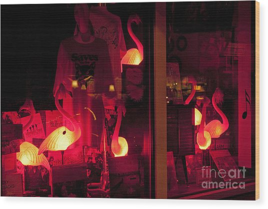 Flamingos On Market Street Wood Print