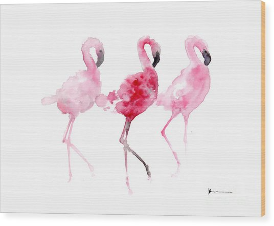 Flamingos Painting Watercolor Art Print Wood Print