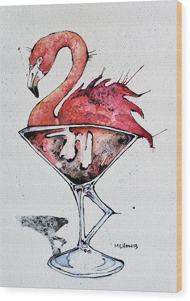 Flamingotini Wood Print