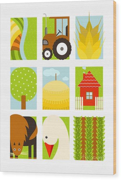 Flat Childish Rectangular Agriculture Wood Print by Popmarleo