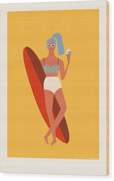 Flat Illustration With Surfer Girl With Wood Print
