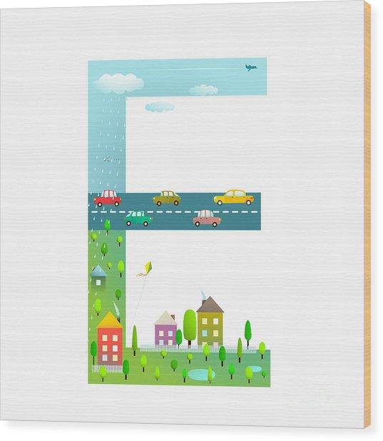 Flat Style Alphabet Letter E For Kids Wood Print by Popmarleo