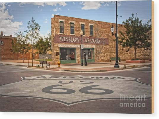 Flatbed Ford And Winslow Route 66 Wood Print