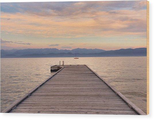 Flathead Lake Sunset Wood Print