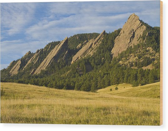 Flatiron Morning Light Boulder Colorado Wood Print