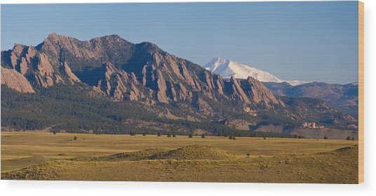 Flatirons And Snow Covered Longs Peak Panorama Wood Print
