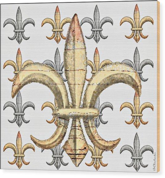 Fleur De Lys Silver And Gold Wood Print