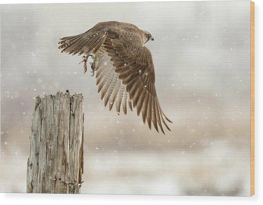 Flight Against The Snowstorm Wood Print