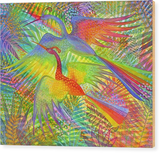 Flight Of Colour And Bliss Wood Print by Jennifer Baird