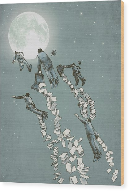 Flight Of The Salary Men Wood Print