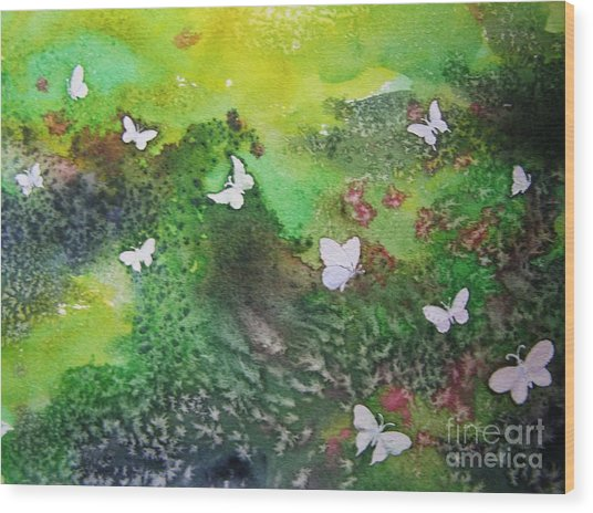 Flight Of White Wood Print