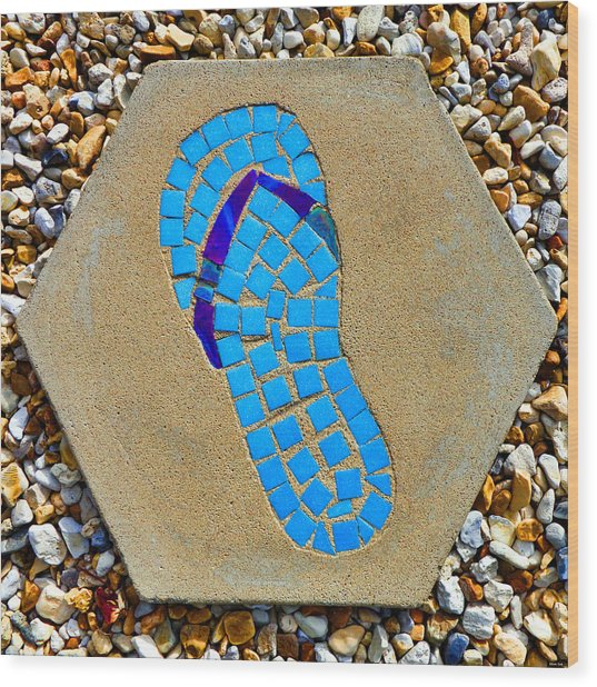Square Flip Flop Stepping Stone Two Wood Print