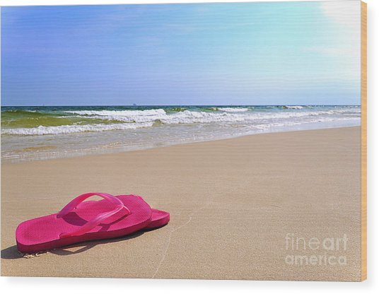 Flip Flops On Beach Wood Print