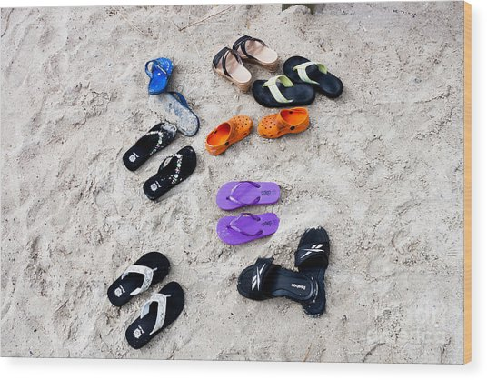 Flip Flops On The Beach Wood Print