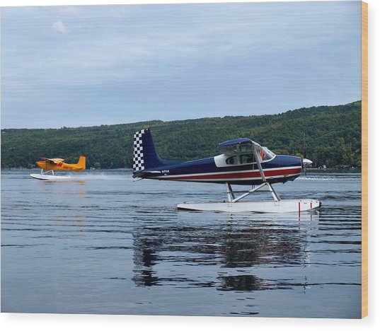 Float Planes On Keuka Wood Print