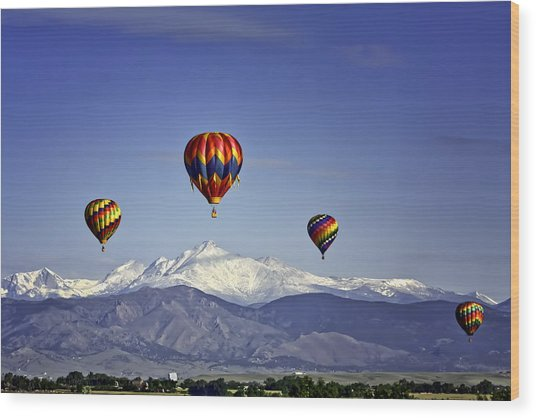 Floating Above Longs Peak Wood Print