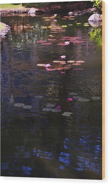 Floating Flowers  Wood Print