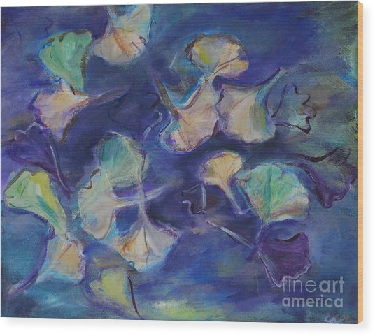 Floating Gingko Leaves Wood Print
