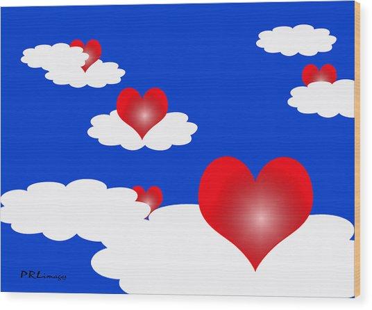 Floating Hearts Wood Print
