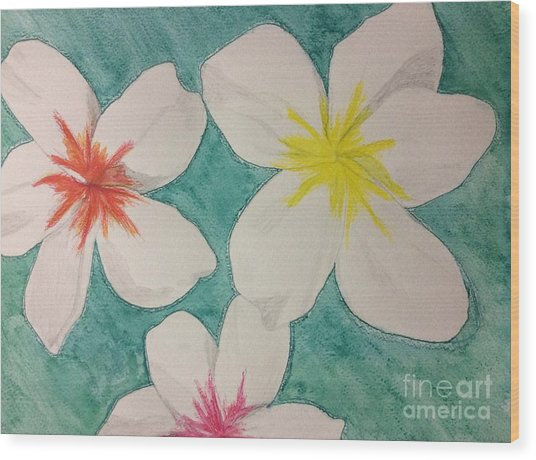 Floating Plumeria Wood Print