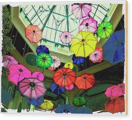 Floating Umbrellas In Las Vegas  Wood Print