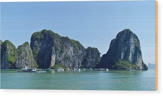 Floating Village Ha Long Bay Wood Print