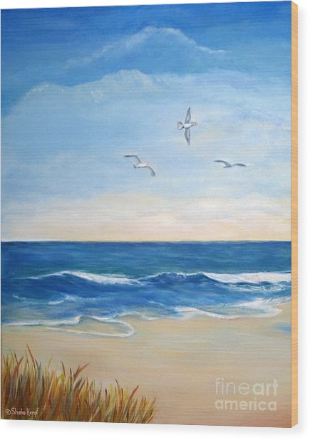 Flock Of Three - Three Birds On The Beach Wood Print