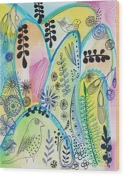 Floral Abstract Painting Wood Print
