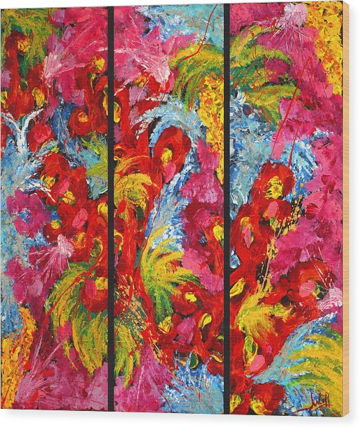 Floral Abstract Triptych On Black Background Wood Print