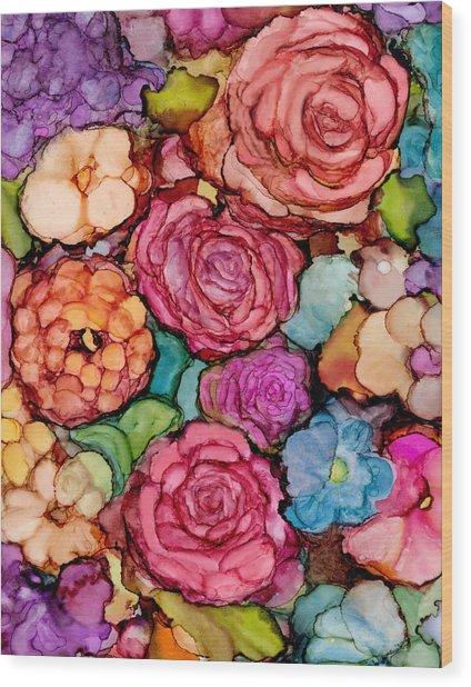 Floral Blanket Wood Print