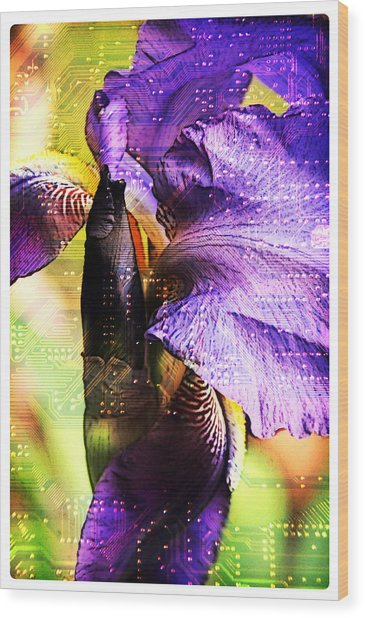 Floral Circuit Wood Print