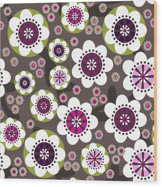Floral Grunge Wood Print