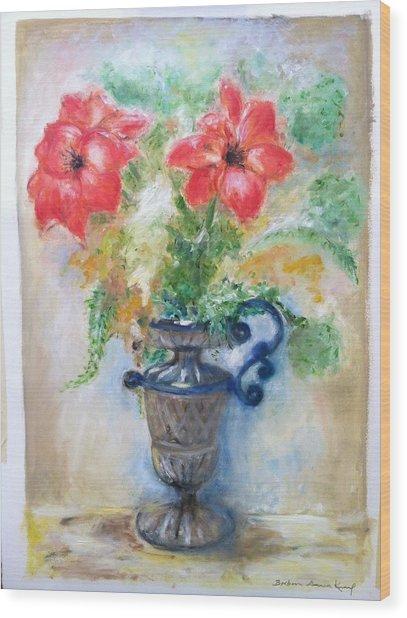 Floral In Urn Wood Print